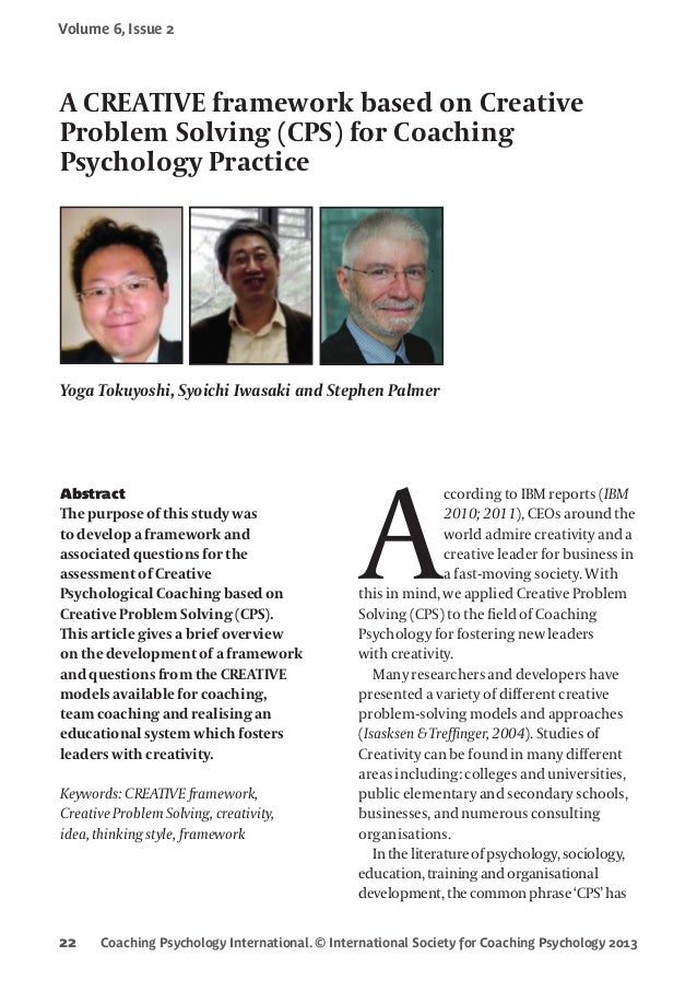 Coaching Psychology International. © International Society for Coaching Psychology 2013 Volume 6, Issue 2 22 Abstract The ...