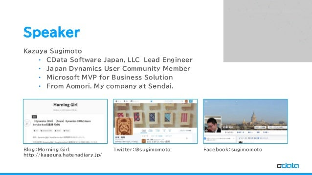 See the World as a Database Speaker Kazuya Sugimoto • CData Software Japan, LLC Lead Engineer • Japan Dynamics User Commun...