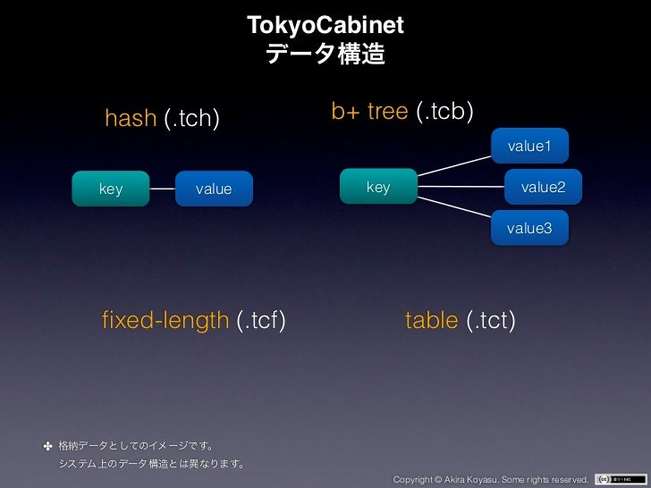 TokyoCabinet    hash (.tch)            b+ tree (.tcb)                                                               value1...