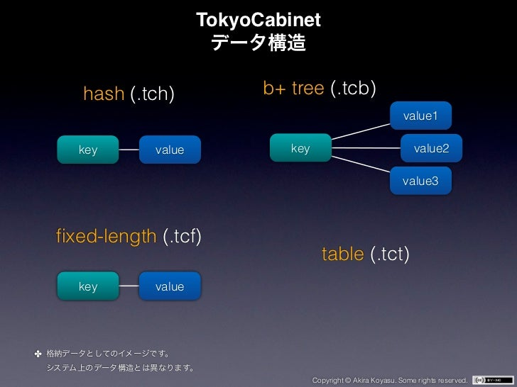 TokyoCabinet       hash (.tch)            b+ tree (.tcb)                                                                  ...