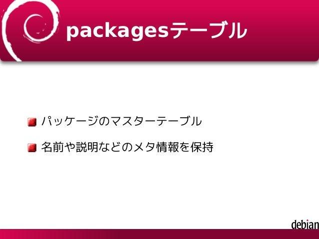 packagesテーブル パッケージのマスターテーブル 名前や説明などのメタ情報を保持