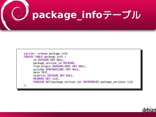 package_infoテーブル sqlite> .schema package_info CREATE TABLE package_info ( id INTEGER NOT NULL, package_version_id INTEGER,...