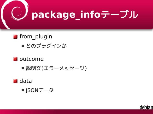 package_infoテーブル from_plugin どのプラグインか outcome 説明文(エラーメッセージ) data JSONデータ