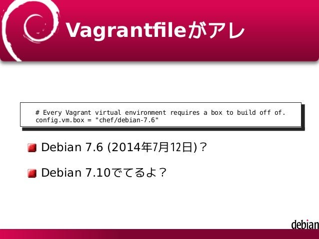 "Vagrantfileがアレ # Every Vagrant virtual environment requires a box to build off of. config.vm.box = ""chef/debian-7.6"" Debian..."