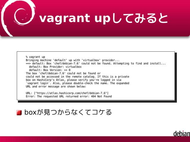vagrant upしてみると % vagrant up Bringing machine 'default' up with 'virtualbox' provider... ==> default: Box 'chef/debian-7.6...