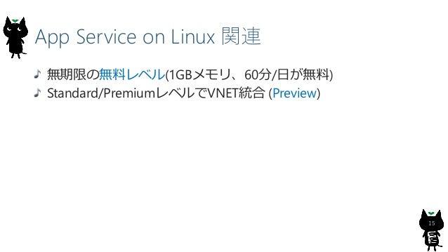 App Service on Linux 関連 15 無期限の無料レベル(1GBメモリ、60分/日が無料) Standard/PremiumレベルでVNET統合 (Preview)
