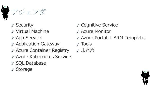 アジェンダ 5 Security Virtual Machine App Service Application Gateway Azure Container Registry Azure Kubernetes Service SQL Dat...