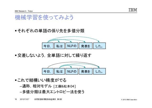 © 2010 IBM Corporation IBM Research - Tokyo 16 自然言語処理勉強会@東京 第3回2010/11/07 機械学習を使ってみよう それぞれの単語の係り先を多値分類 交差しないよう,全単語に対して繰り返す...