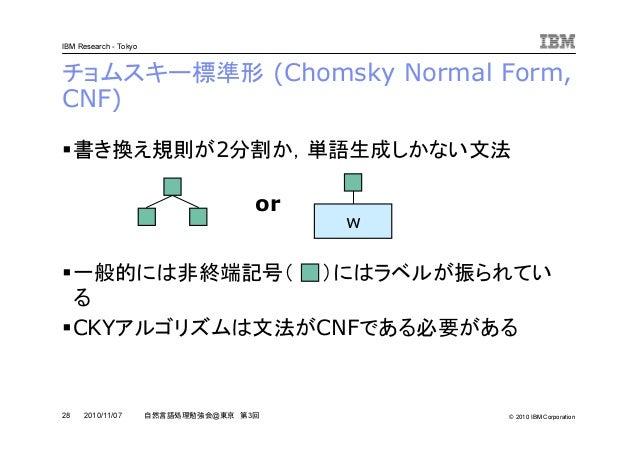 © 2010 IBM Corporation IBM Research - Tokyo 28 自然言語処理勉強会@東京 第3回2010/11/07 チョムスキー標準形 (Chomsky Normal Form, CNF) 書き換え規則が2分割か...