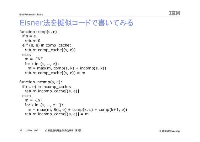 © 2010 IBM Corporation IBM Research - Tokyo 36 自然言語処理勉強会@東京 第3回2010/11/07 Eisner法を擬似コードで書いてみる function comp(s, e): if s = ...