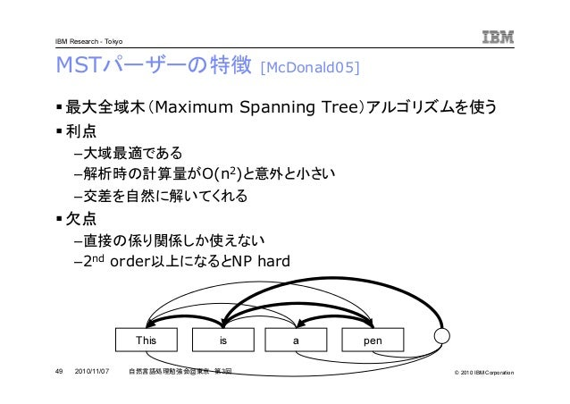 © 2010 IBM Corporation IBM Research - Tokyo 49 自然言語処理勉強会@東京 第3回2010/11/07 MSTパーザーの特徴 [McDonald05] 最大全域木(Maximum Spanning T...