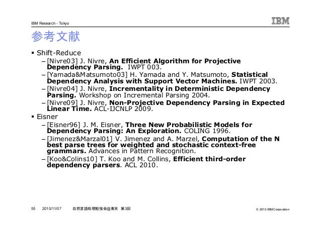 © 2010 IBM Corporation IBM Research - Tokyo 55 自然言語処理勉強会@東京 第3回2010/11/07 参考文献 Shift-Reduce – [Nivre03] J. Nivre, An Effic...