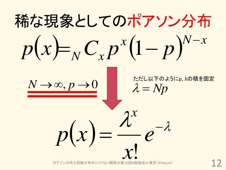 稀な現象としてのポアソン分布px  N Cx p 1  p     x                   N x                              ただし以下のようにp, λの積を固定N  , p ...