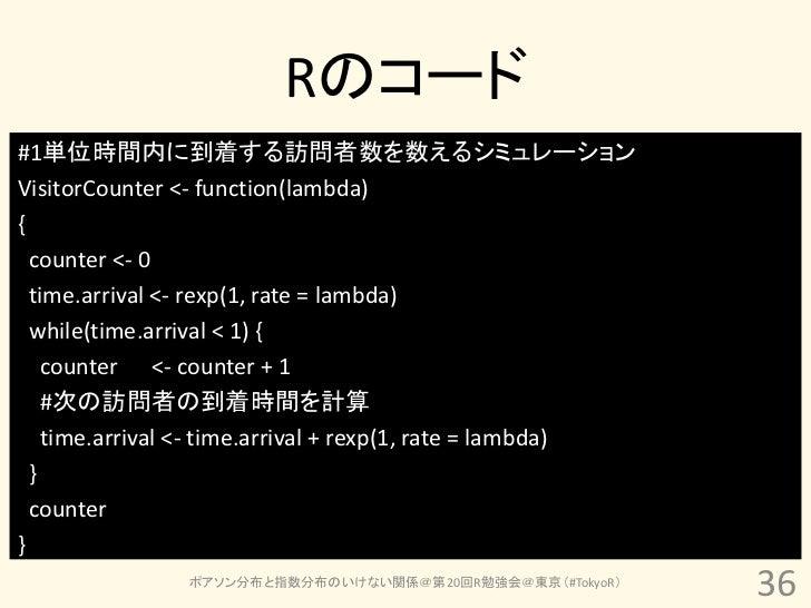 Rのコード#1単位時間内に到着する訪問者数を数えるシミュレーションVisitorCounter <- function(lambda){  counter <- 0  time.arrival <- rexp(1, rate = lambda)...