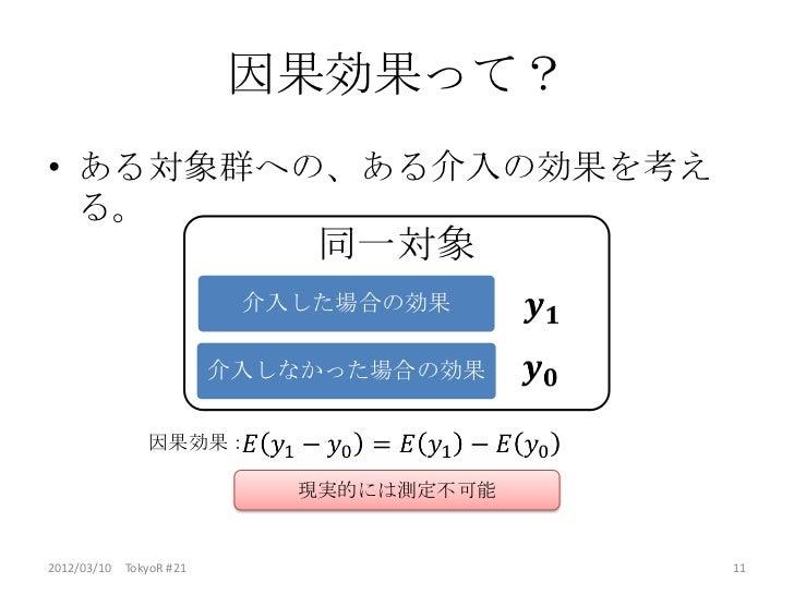 因果効果って?• ある対象群への、ある介入の効果を考え  る。                            同一対象                         介入した場合の効果                        介...