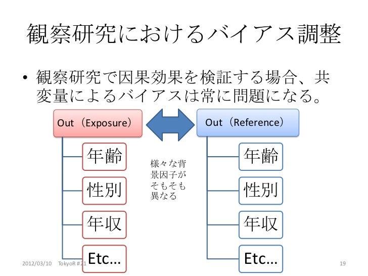 観察研究におけるバイアス調整• 観察研究で因果効果を検証する場合、共  変量によるバイアスは常に問題になる。           Out(Exposure)              Out(Reference)                ...