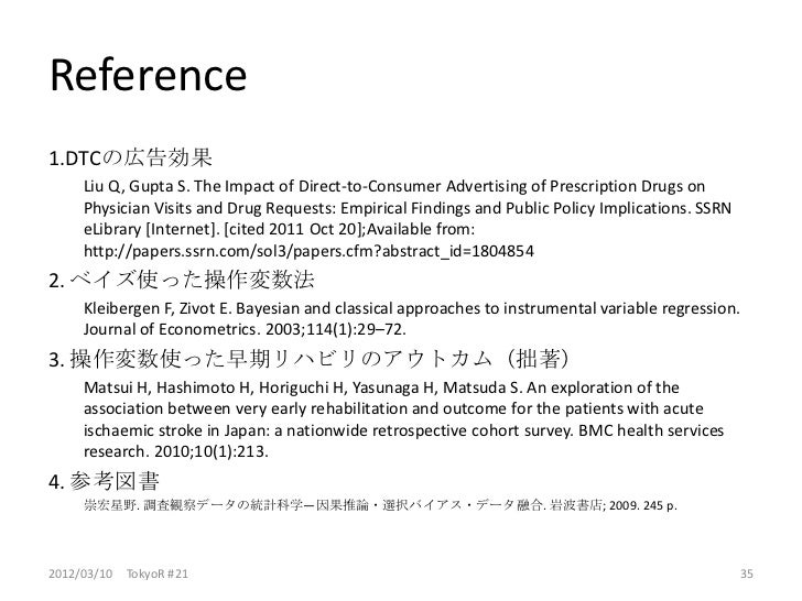 Reference1.DTCの広告効果     Liu Q, Gupta S. The Impact of Direct-to-Consumer Advertising of Prescription Drugs on     Physicia...