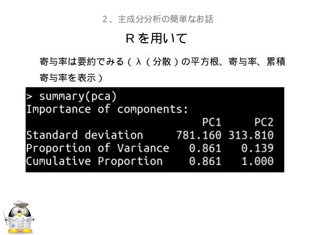 R を用いて2、主成分分析の簡単なお話寄与率は要約でみる( λ (分散)の平方根、寄与率、累積寄与率を表示)