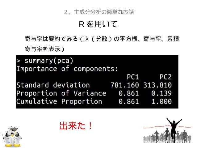 R を用いて2、主成分分析の簡単なお話寄与率は要約でみる( λ (分散)の平方根、寄与率、累積寄与率を表示)出来た!