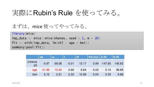 実際にRubin's Rule を使ってみる。 library(mice) imp_data <- mice::mice(nhanes, seed = 1, m = 20) fit <- with(imp_data, lm(chl ~ age ...