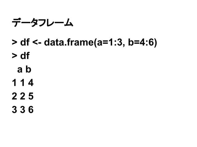 データフレーム  > df <- data.frame(a=1:3, b=4:6)  > df  a b  1 1 4  2 2 5  3 3 6