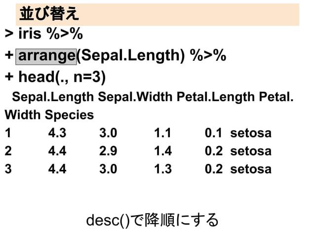 並び替え  > iris %>%  + arrange(Sepal.Length) %>%  + head(., n=3)  Sepal.Length Sepal.Width Petal.Length Petal.  Width Species...