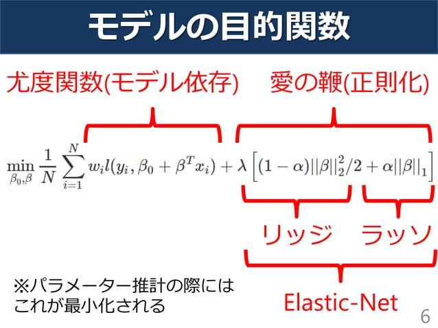 モデルの目的関数 6 ラッソリッジ 尤度関数(モデル依存) 愛の鞭(正則化) Elastic-Net ※パラメーター推計の際には これが最小化される