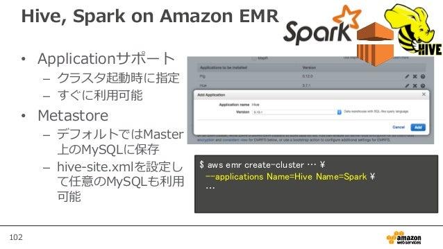 102 Hive, Spark on Amazon EMR • Applicationサポート – クラスタ起動時に指定 – すぐに利用可能 • Metastore – デフォルトではMaster 上のMySQLに保存 – hive-site....