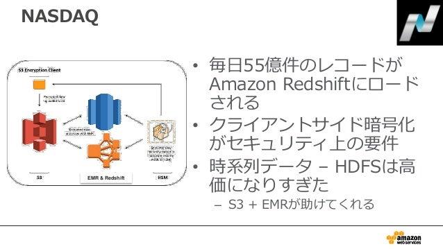 NASDAQ • 毎日55億件のレコードが Amazon Redshiftにロード される • クライアントサイド暗号化 がセキュリティ上の要件 • 時系列データ – HDFSは高 価になりすぎた – S3 + EMRが助けてくれる EMR &...