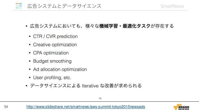 54 http://www.slideshare.net/smartnews/aws-summit-tokyo2015newsads