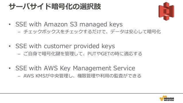 サーバサイド暗号化の選択肢 • SSE with Amazon S3 managed keys – チェックボックスをチェックするだけで、データは安心して暗号化 • SSE with customer provided keys – ご自身で暗...