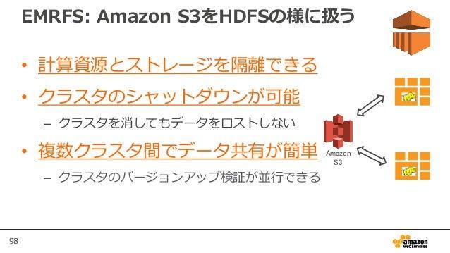 98 EMRFS: Amazon S3をHDFSの様に扱う • 計算資源とストレージを隔離できる • クラスタのシャットダウンが可能 – クラスタを消してもデータをロストしない • 複数クラスタ間でデータ共有が簡単 – クラスタのバージョンアッ...