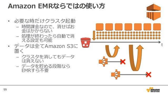 99 Amazon EMRならではの使い方 • 必要な時だけクラスタ起動 – 時間課金なので、消せばお 金はかからない – 処理が終わったら自動で消 える設定も可能 • データは全てAmazon S3に 置く – クラスタを消してもデータ は消...