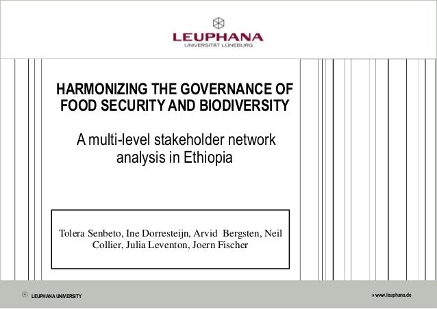 » www.leuphana.de HARMONIZING THE GOVERNANCE OF FOOD SECURITY AND BIODIVERSITY A multi-level stakeholder network analysis ...