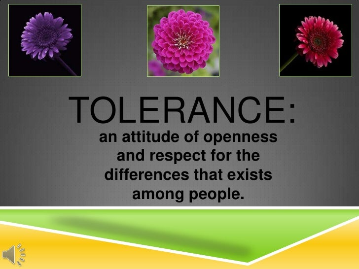 TOLERANCE: an attitude of openness    and respect for the  differences that exists      among people.