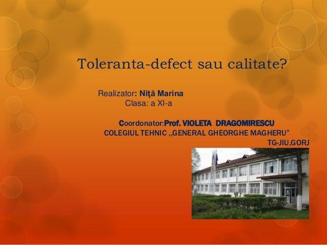 Toleranta-defect sau calitate? Realizator: Niţă Marina Clasa: a XI-a  Coordonator:Prof. VIOLETA DRAGOMIRESCU COLEGIUL TEHN...
