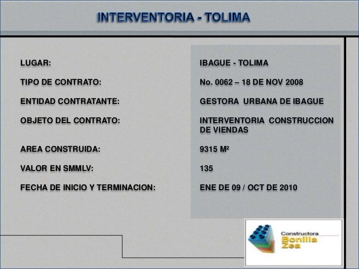 LUGAR:                           IBAGUE - TOLIMATIPO DE CONTRATO:                No. 0062 – 18 DE NOV 2008ENTIDAD CONTRATA...