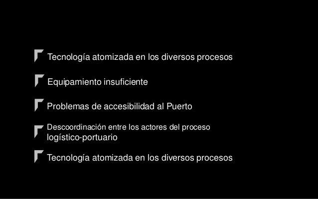 Tecnología atomizada en los diversos procesos Equipamiento insuficiente Problemas de accesibilidad al Puerto Descoordinaci...
