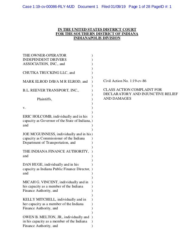 IN THE UNITED STATES DISTRICT COURT FOR THE SOUTHERN DISTRICT OF INDIANA INDIANAPOLIS DIVISION THE OWNER-OPERATOR INDEPEND...