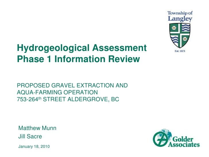 Hydrogeological Assessment Phase 1 Information Review <br />PROPOSED GRAVEL EXTRACTION AND AQUA-FARMING OPERATION 753-264t...