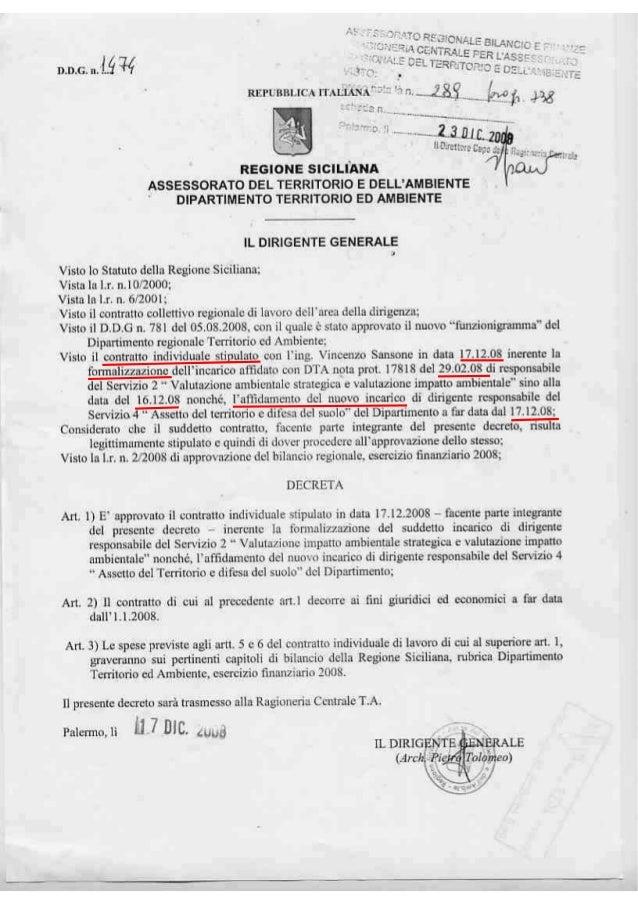 Tolomeo nomina sansone dirigente 2 servizio via vas solo dopo mesi dalla firma dell'incarico decreto contratto sansone