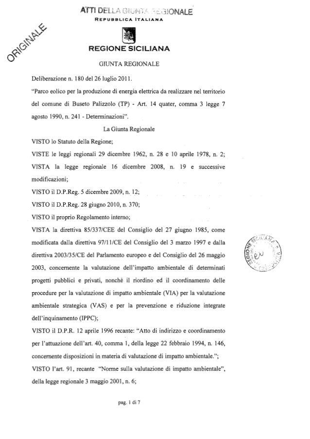 Tolomeo pietro parco eolico buseto dirigente 16 novembre 2010 deliberazione n _180_del_26_07_2011