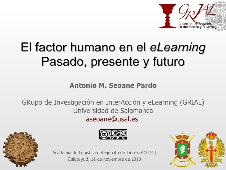 El factor humano en el  eLearning Pasado, presente y futuro Antonio M. Seoane Pardo GRupo de Investigación en InterAcción ...
