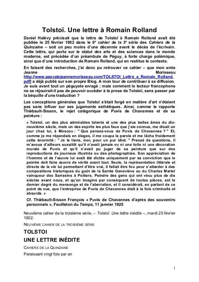 Tolstoï. Une lettre à Romain Rolland Daniel Halévy précisait que la lettre de Tolstoï à Romain Rolland avait été publiée l...
