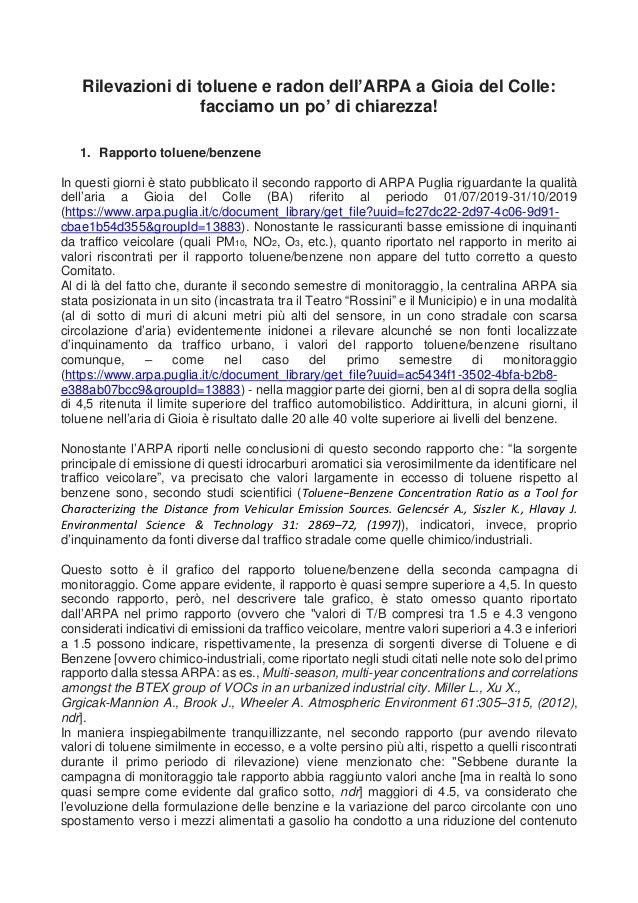 Rilevazioni di toluene e radon dell'ARPA a Gioia del Colle: facciamo un po' di chiarezza! 1. Rapporto toluene/benzene In q...