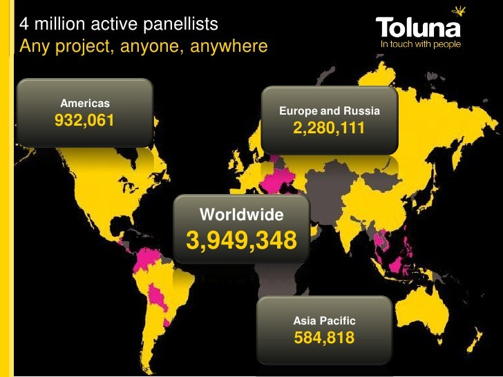 4 million active panellists Any project, anyone, anywhere       Americas                                 Europe and Russia...
