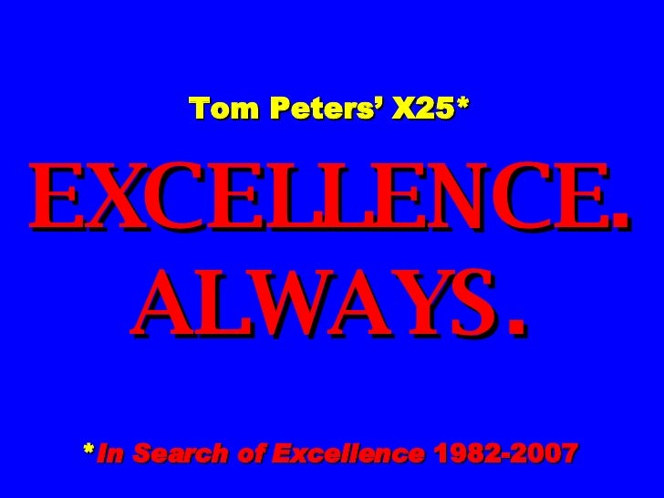 tom peters in search of excellence pdf