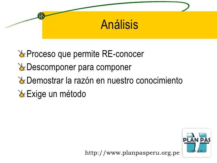 Análisis <ul><li>Proceso que permite RE-conocer </li></ul><ul><li>Descomponer para componer </li></ul><ul><li>Demostrar la...