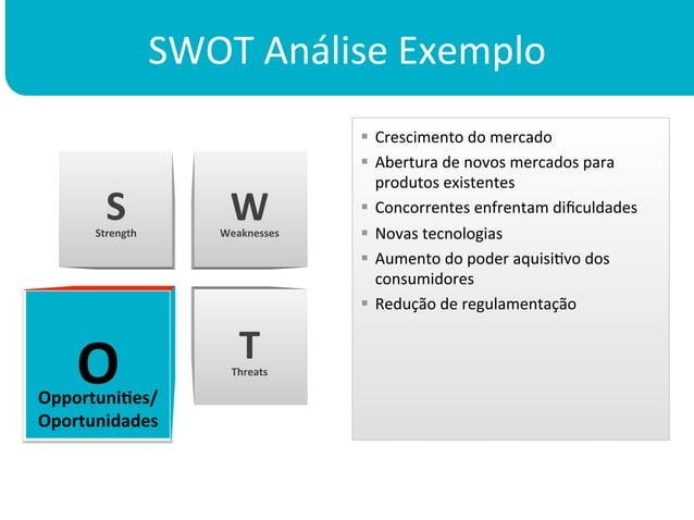 SWOT Análise Exemplo                                              § Crescimento do mercado                ...