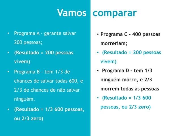 Vamos comparar• Programa A – garante salvar     • Programa C – 400 pessoas  200 pessoas;                      morreriam;...